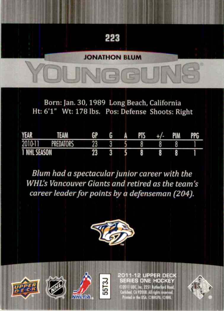 2011-12 Upper Deck Young Guns Jonathon Blum Yg, RC #223 card back image