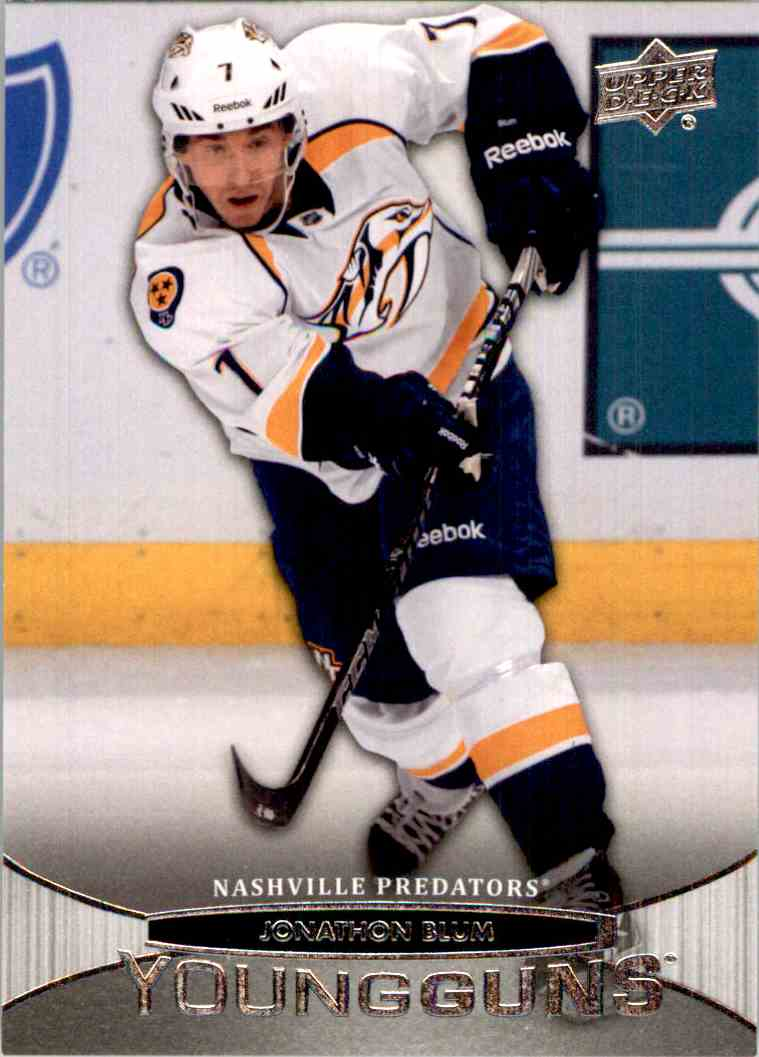 2011-12 Upper Deck Young Guns Jonathon Blum Yg, RC #223 card front image
