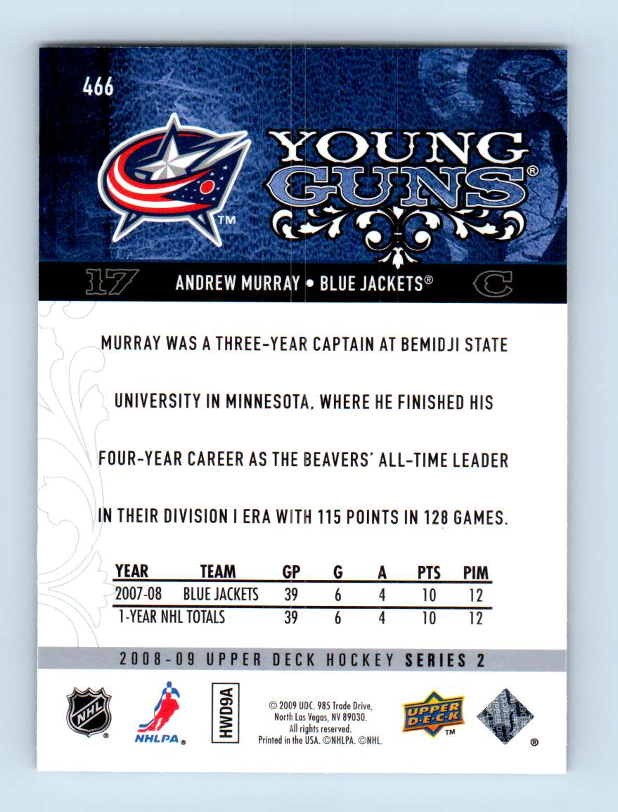 2008-09 Upper Deck Young Guns Andrew Murray #466 card back image