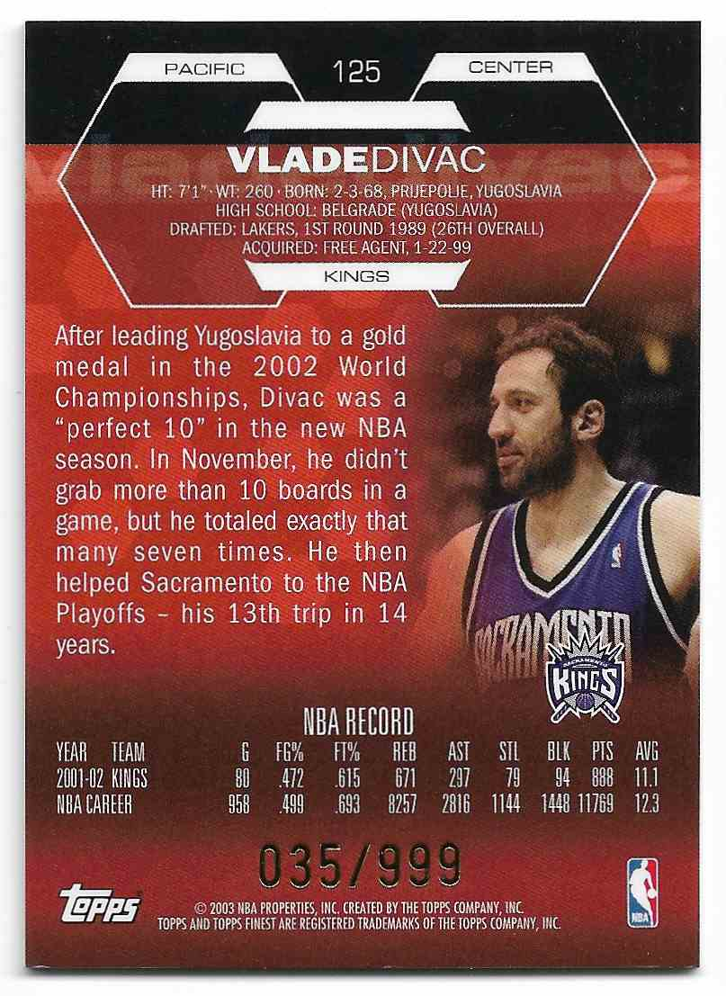 2002-03 Topps Finest Lade Divac #125 card back image