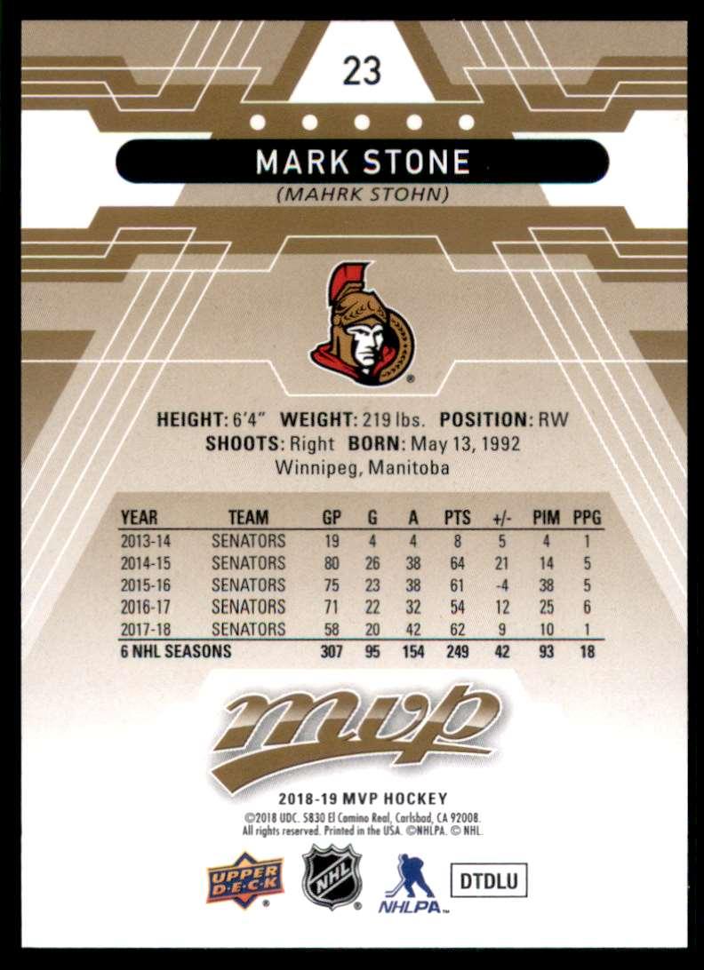 2018-19 Upper Deck MVP Mark Stone #23 card back image