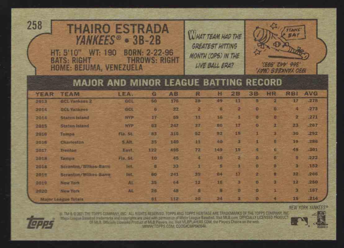 2021 Topps Heritage Thairo Estrada #258 card back image