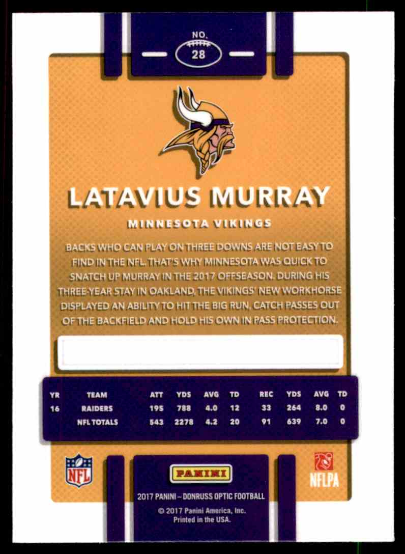 2017 Donruss Optic Latavius Murray #28 card back image