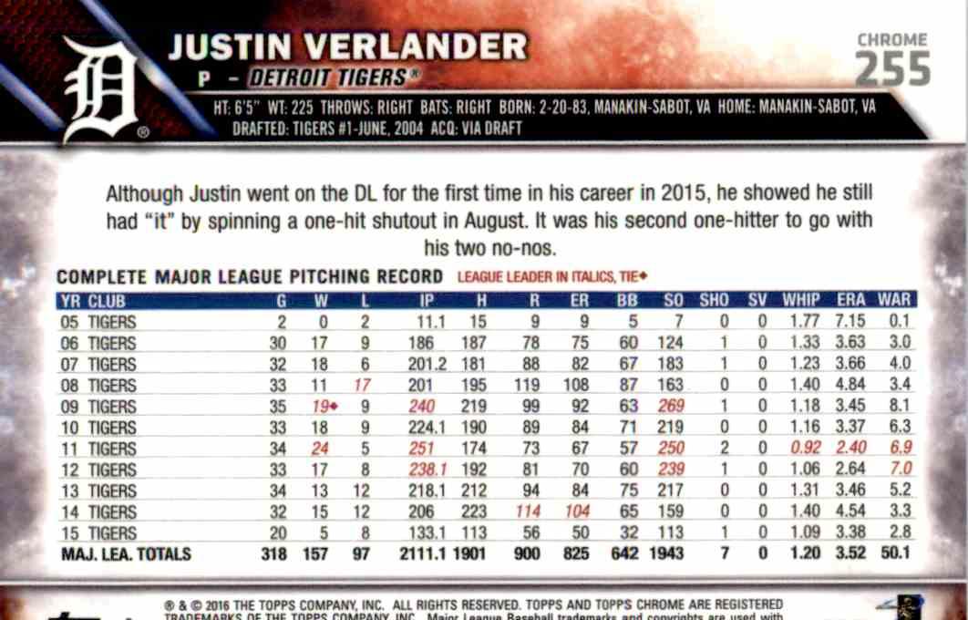 2016 Topps Blue Sapphire Justin Verlander #255 card back image