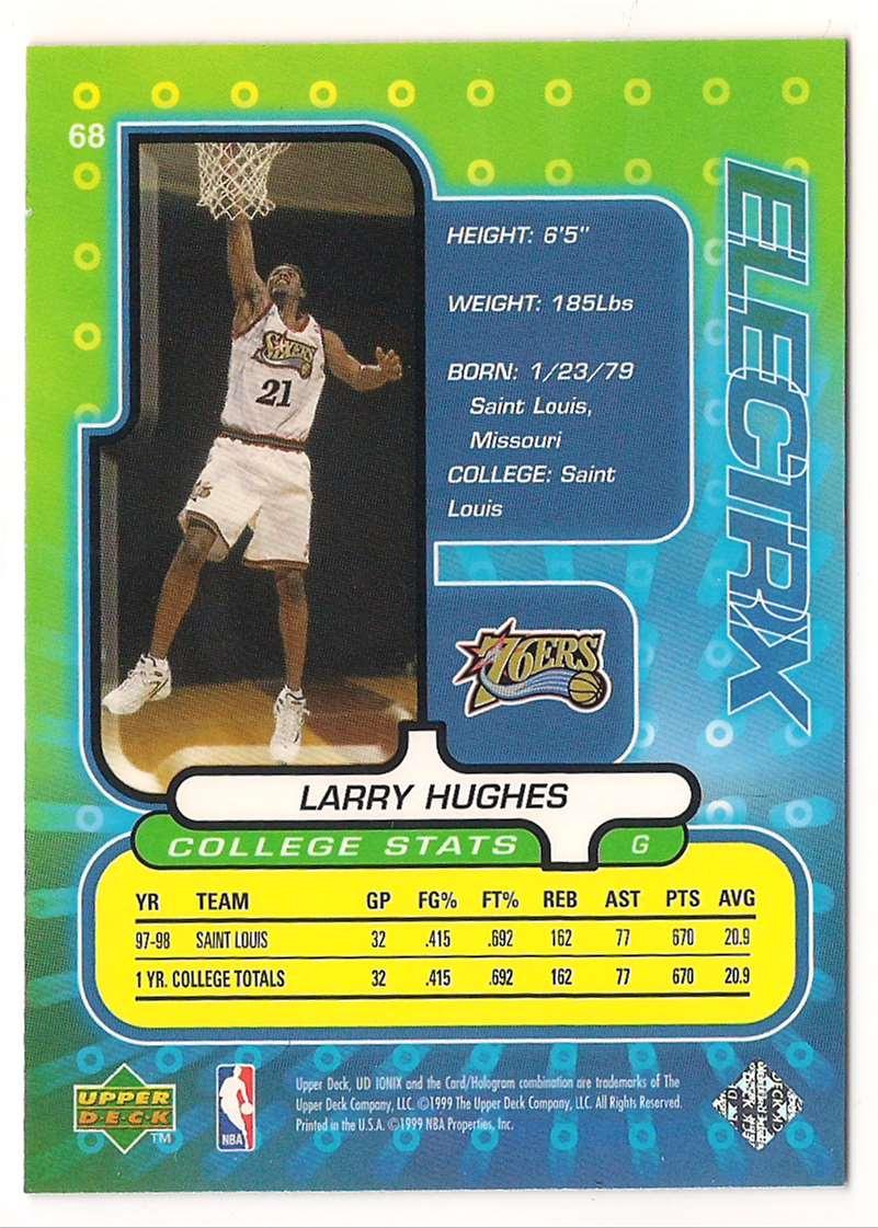 1998-99 UD Upper Deck Ionix Larry Hughes #68 card back image