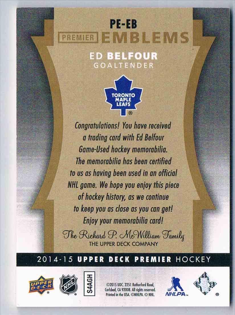 2014-15 Premier Patch Emblems Ed Belfour #PE-EB card back image