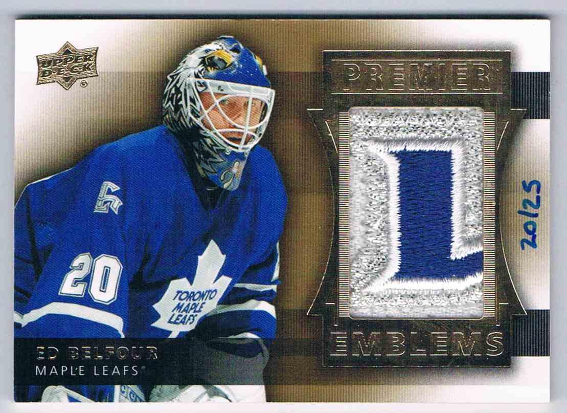 2014-15 Premier Patch Emblems Ed Belfour #PE-EB card front image