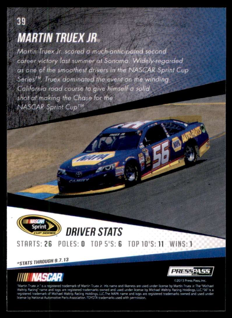 2014 Press Pass Martin Truex JR #39 card back image