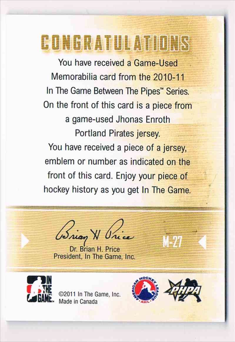 2010-11 ITG InThe Game Between The Pipes Game-Used Jersey Jhonas Enroth #M-27 card back image