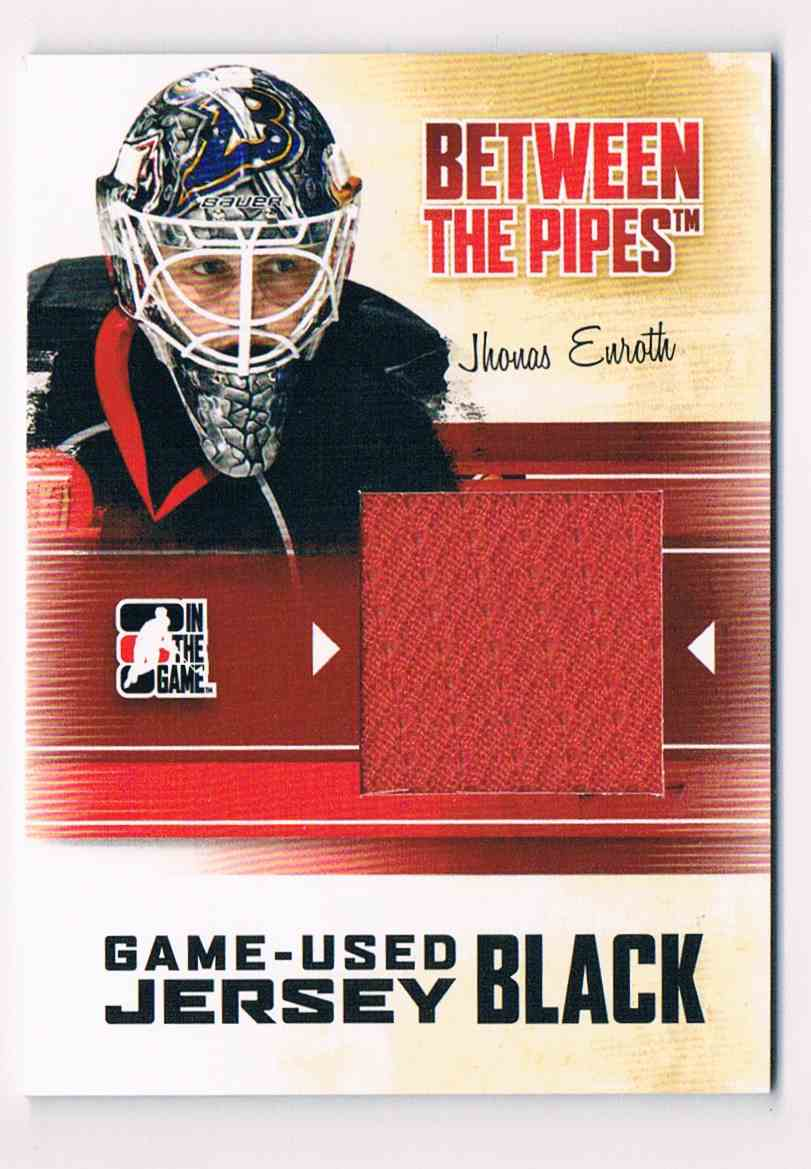 2010-11 ITG InThe Game Between The Pipes Game-Used Jersey Jhonas Enroth #M-27 card front image
