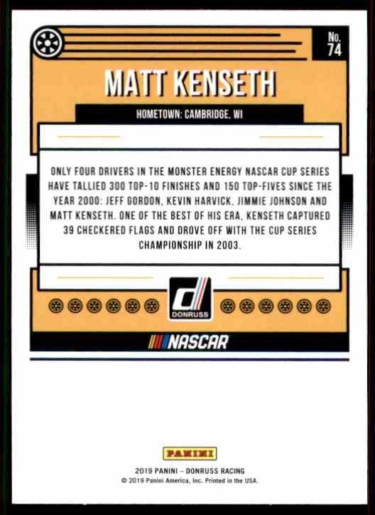 2019 Donruss Matt Kenseth #74 card back image