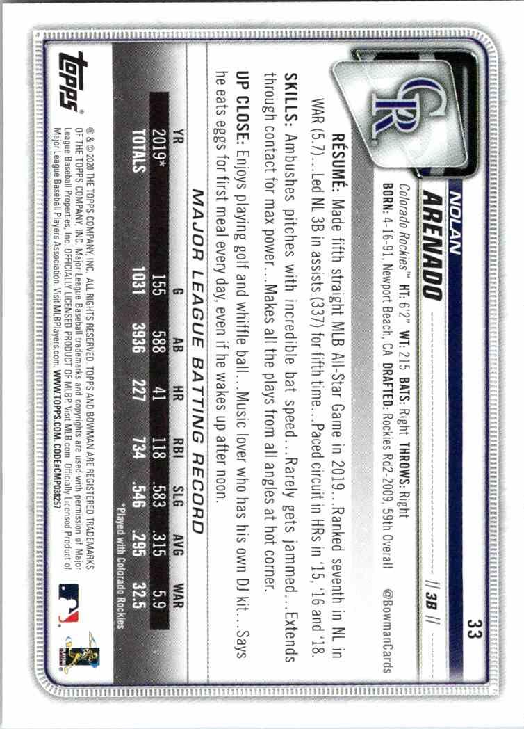2020 Topps Bowman Nolan Arenado #33 card back image