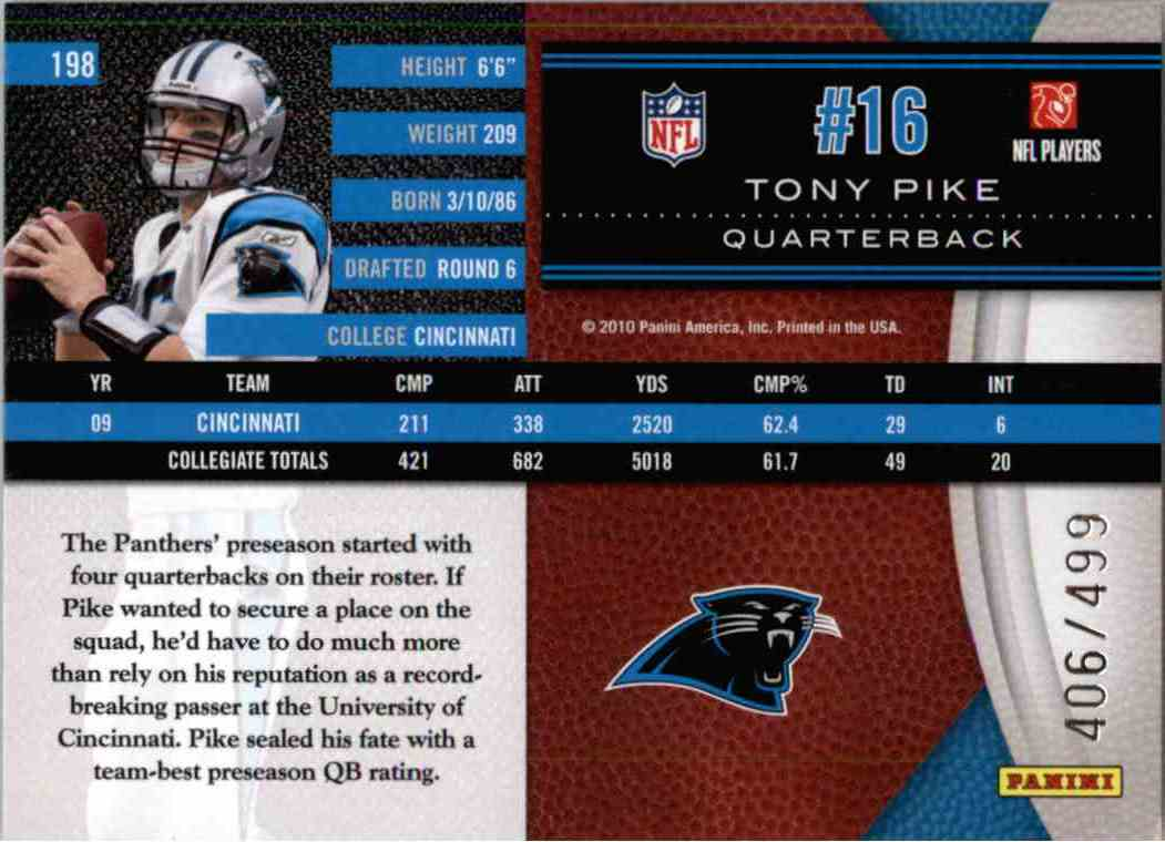 2010 Leaf Limited Phenoms Tony Pike #198 card back image
