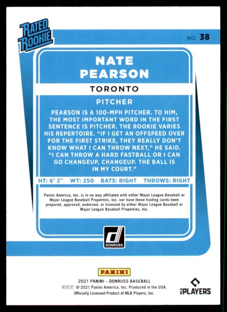 2021 Donruss Diamond Kings Nate Pearson #38 card back image