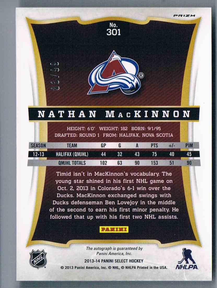 2013-14 Panini Select Prizms Autograph Nathan Mackinnon #301 card back image