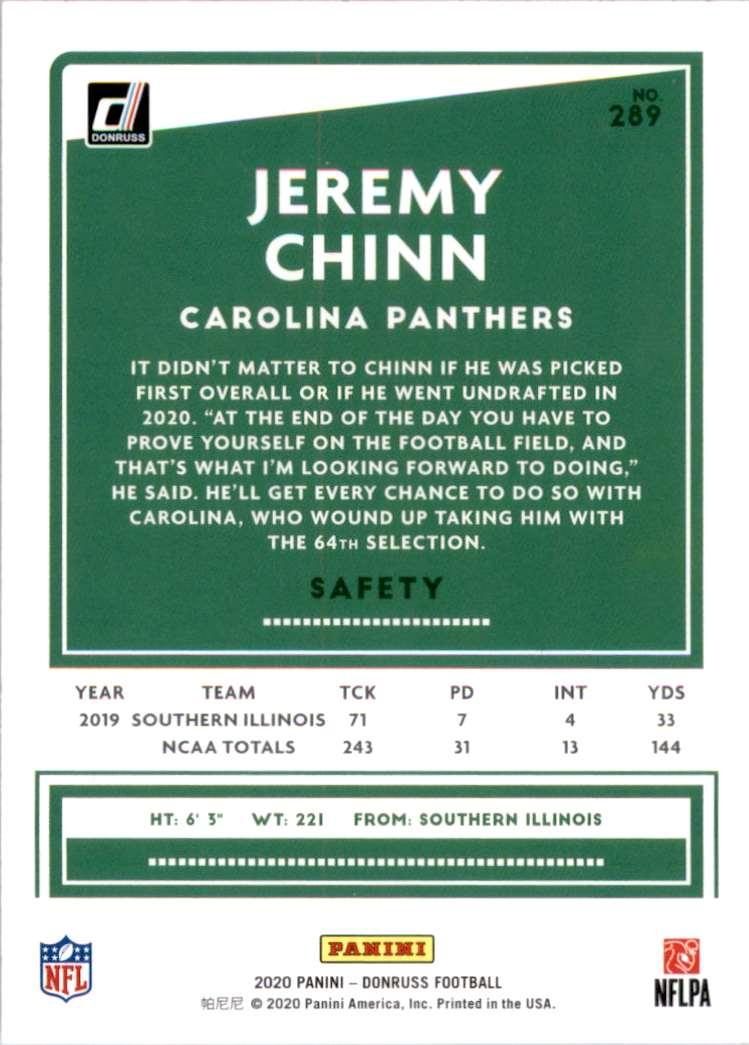 2020 Donruss Jeremy Chinn #289 card back image
