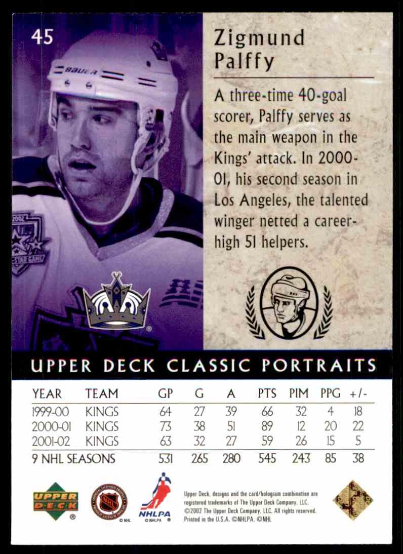 2002-03 Upper Deck Classic Portraits Zigmund Palffy #45 card back image