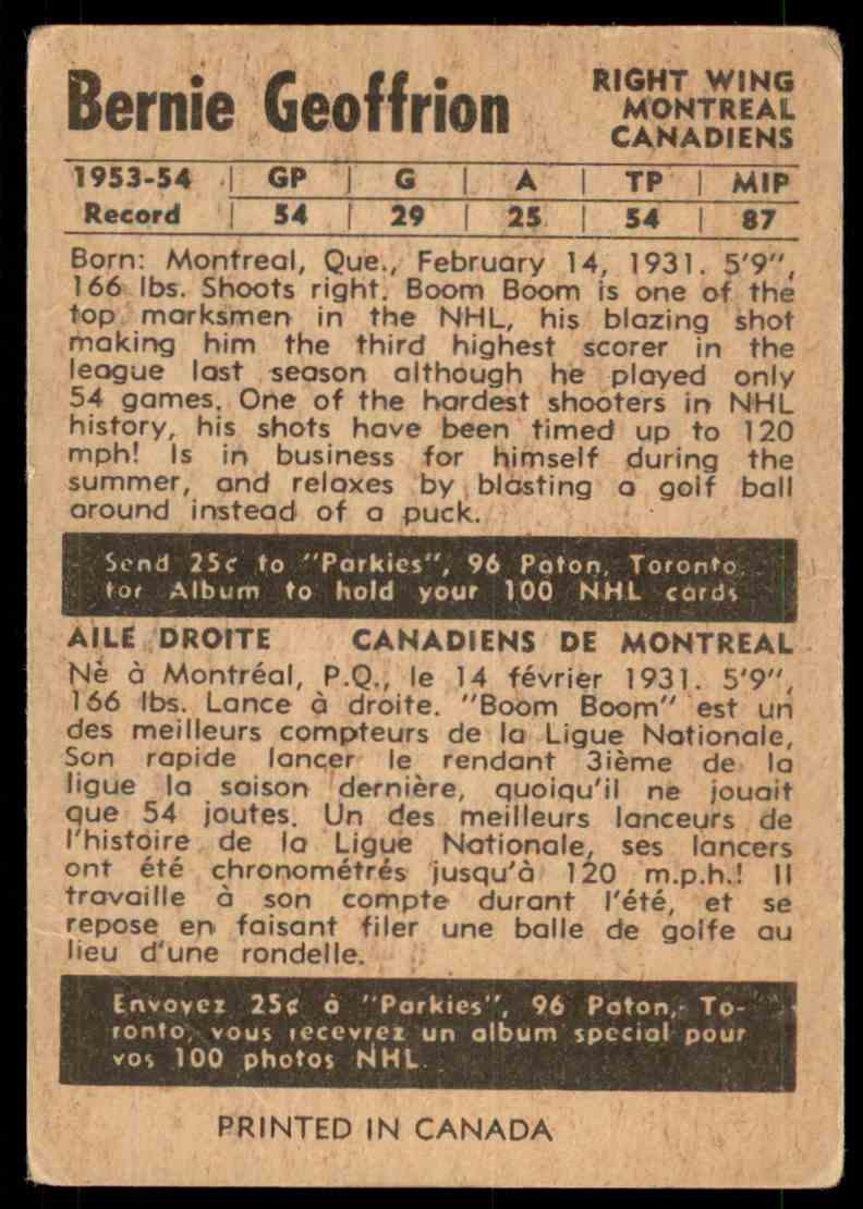 1953-54 O Bernie Geoffrion card back image