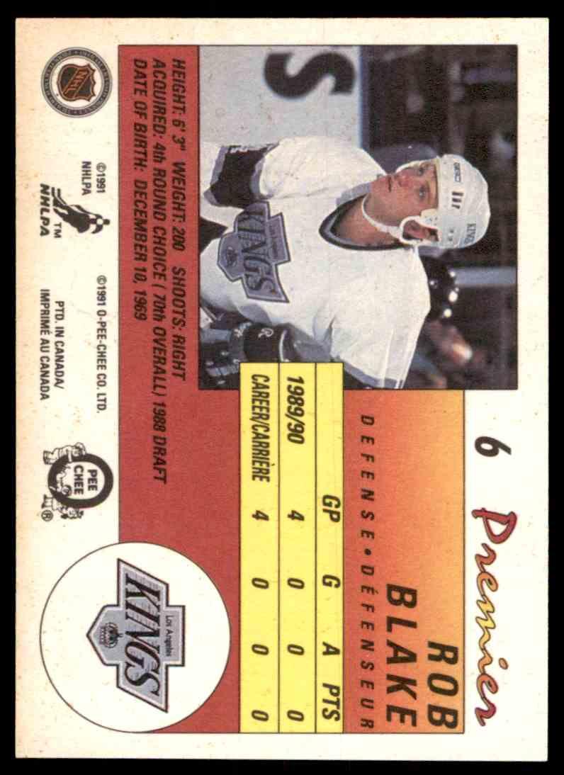 1990-91 O-Pee-Chee Premier Rob Blake #6 card back image