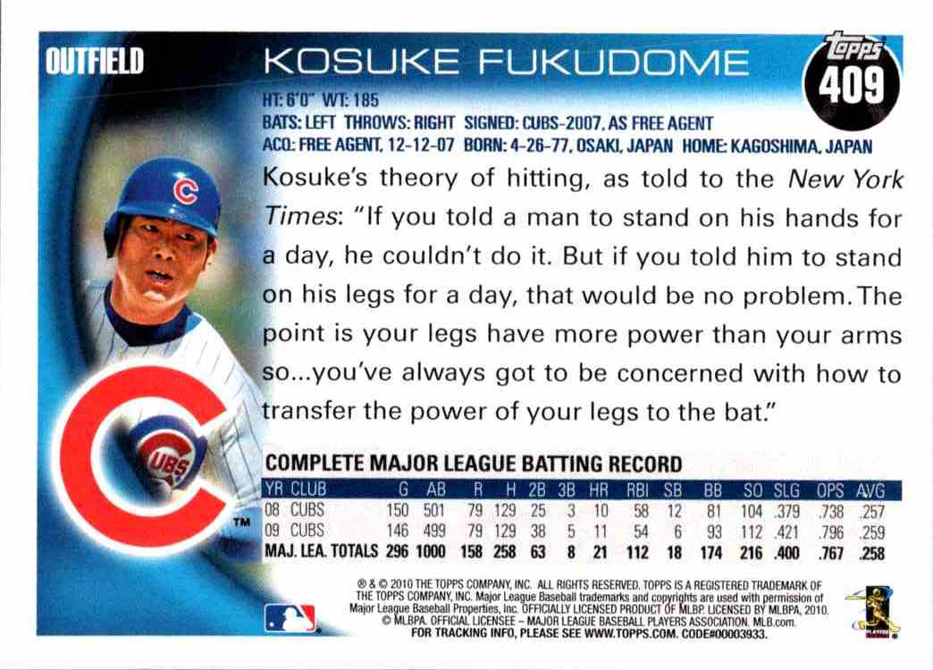 2010 Topps Kosuke Fukudome #409 card back image