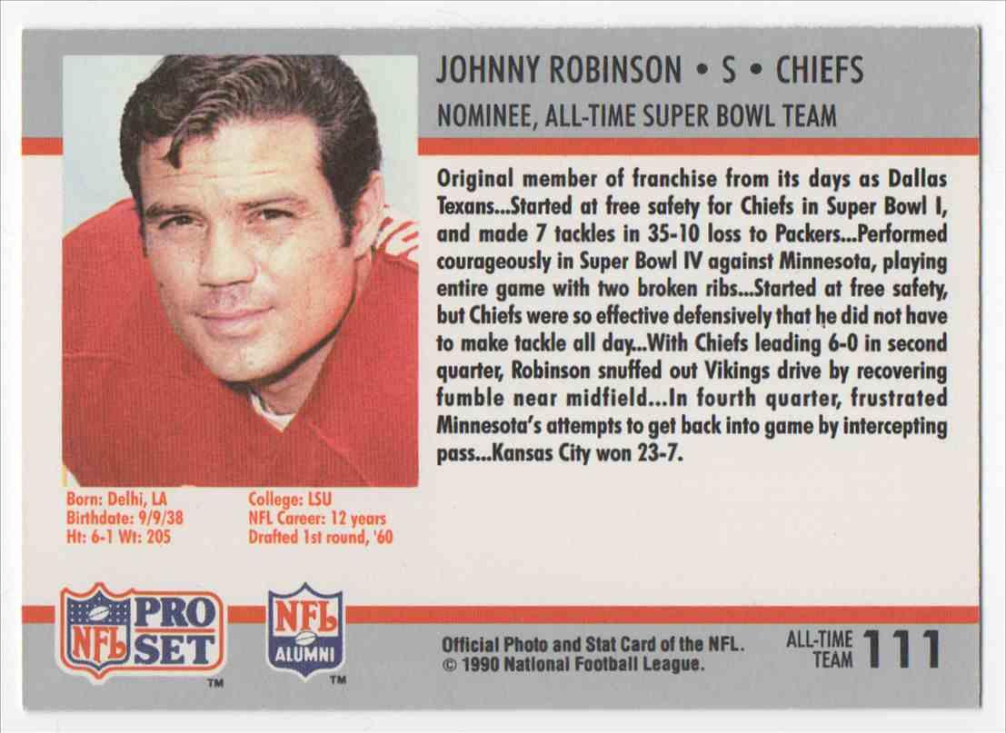 1990 Pro Set Super Bowl XXV Silver Anniversary Johnny Robinson #111 card back image