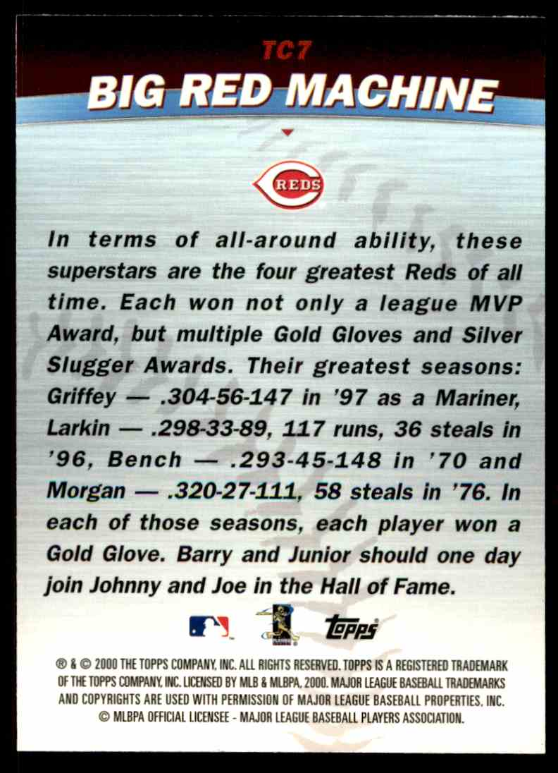 662aa1cd55 Real card back image 2000 Topps Regular Johnny Bench Ken Griffey JR #TC7  card back image