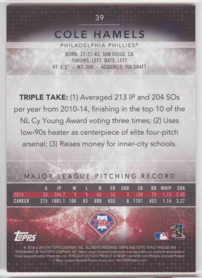 2015 Topps Triple Threads Onyx Cole Hamels #39 card back image