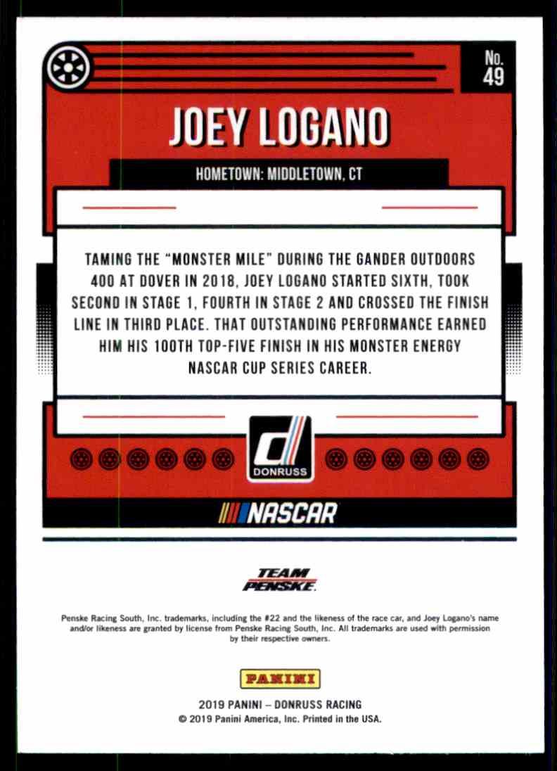 2019 Donruss Joey Logano #49 card back image
