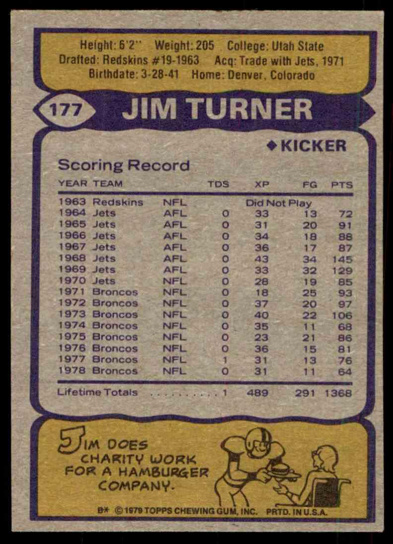 1979 Topps Jim Turner #177 card back image