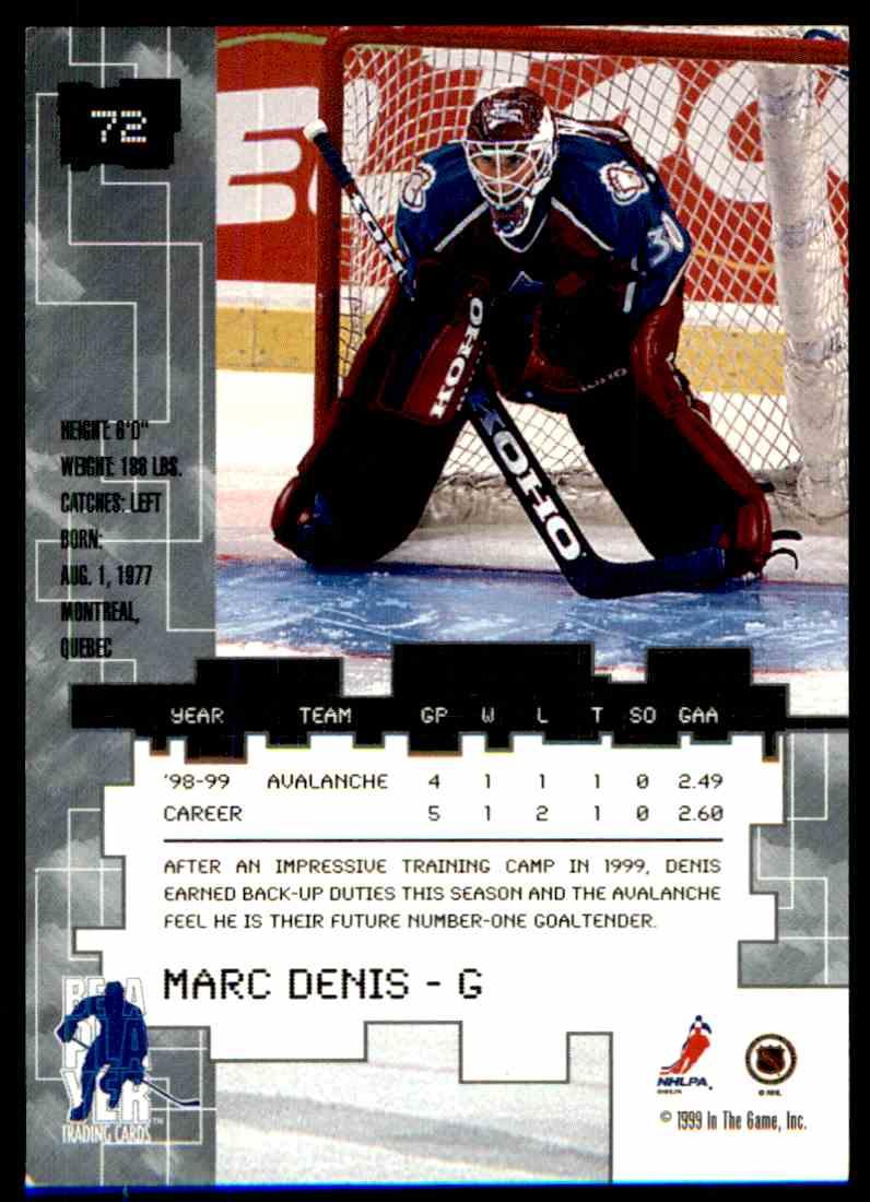 1999-00 Bap Millennium Toronto Spring Expo Marc Denis #72 card back image