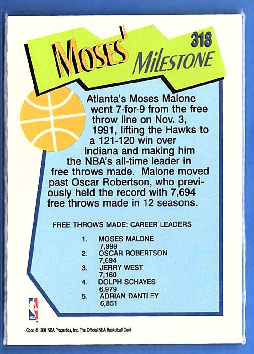 1991-92 Hoops Moses Malone Ms #318 card back image