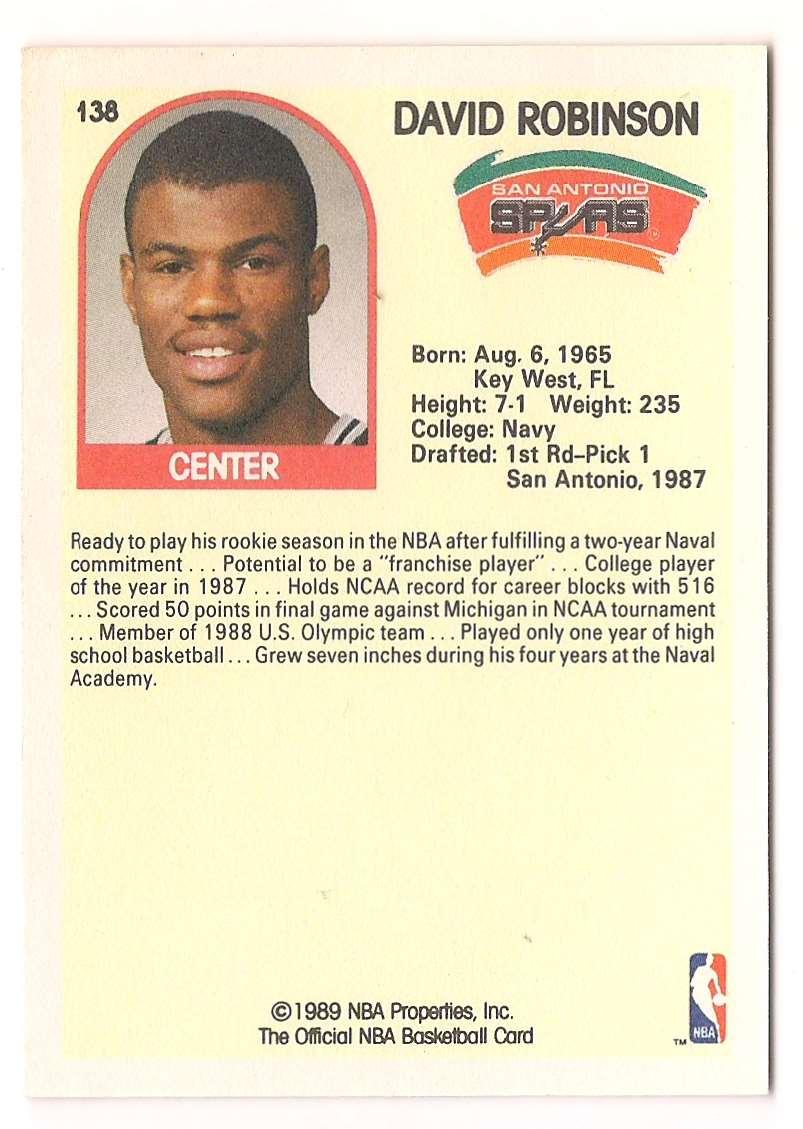 1989-90 NBA Hoops David Robinson #138 card back image