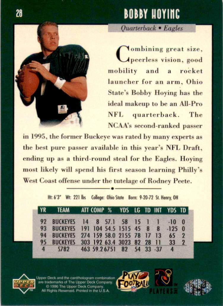 1996 Upper Deck Bobby Hoying RC #28 card back image