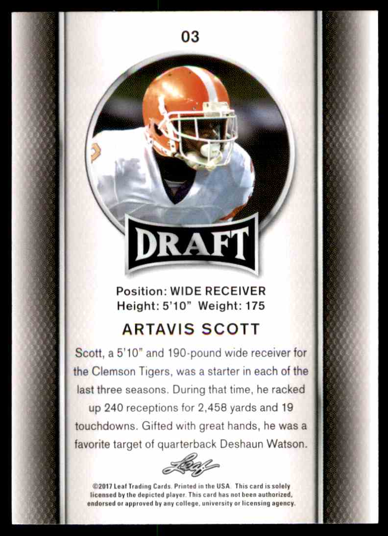 2017 Leaf Draft Artavis Scott #03 card back image