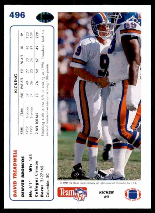 1991 Upper Deck David Treadwell #496 card back image