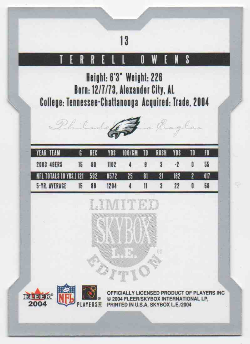 2004 Skybox L.E. Terrell Owens #13 card back image