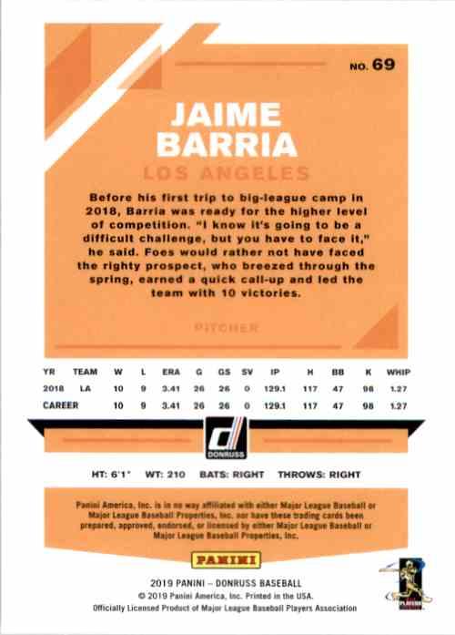 2019 Donruss Jaime Barria #69 card back image