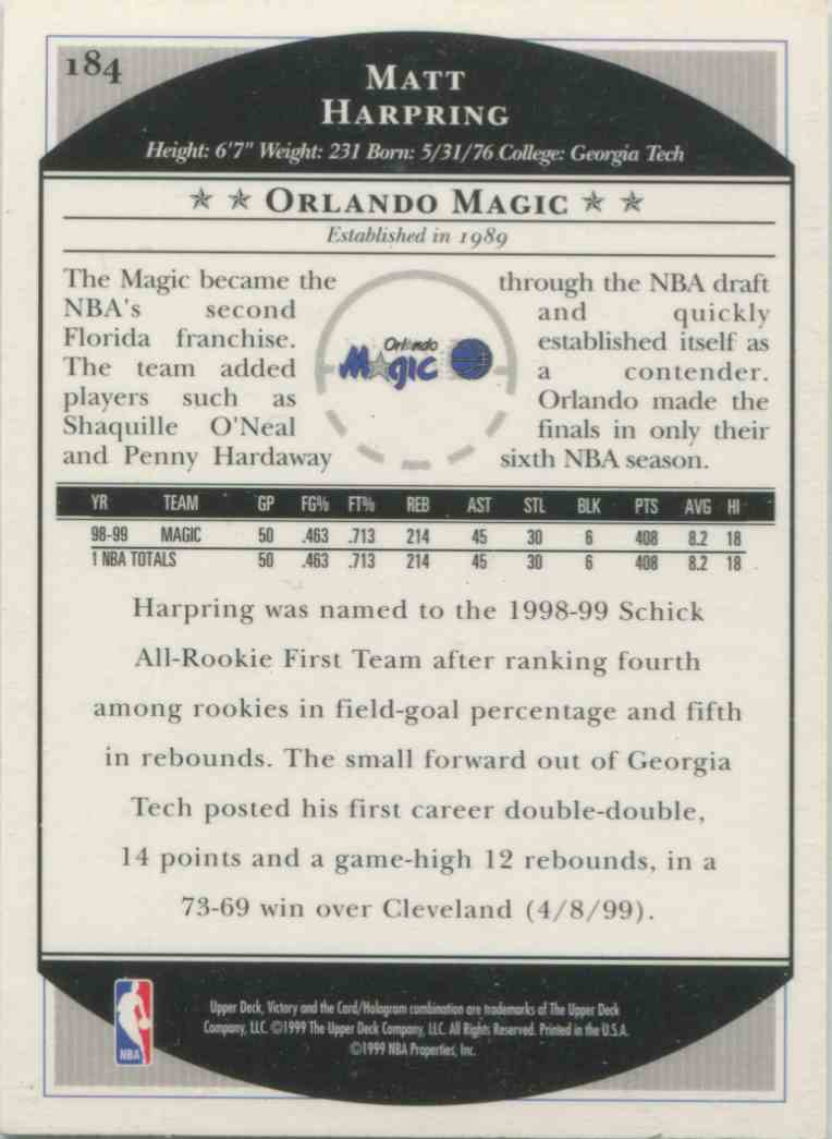 1999-00 Victory Matt Harpring #184 on Kronozio