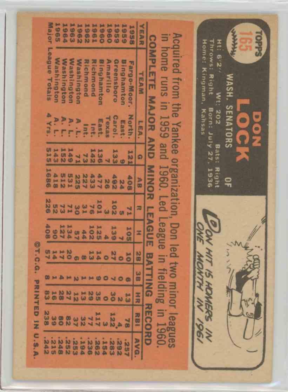 1966 Topps Don Lock #165 card back image