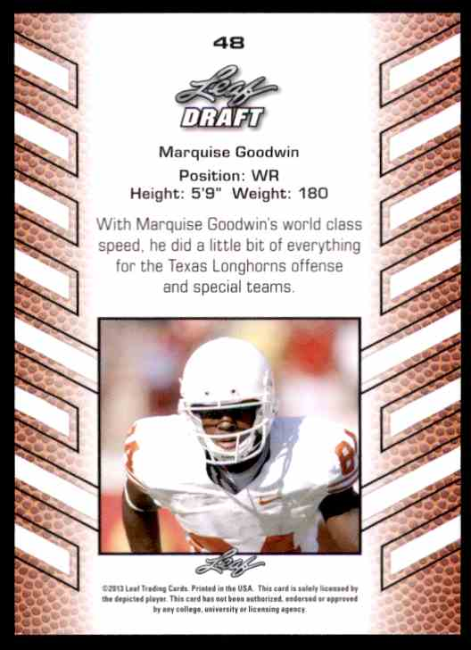 2013 Leaf Draft Marquise Goodwin #48 card back image