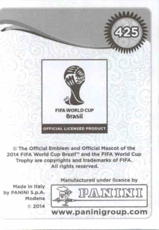 Panini 425 Angel di Maria Argentinien FIFA WM 2014 Brasilien