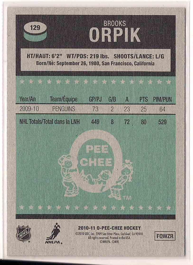 2010-11 O-Pee-Chee Retro Brooks Orpik #129 card back image