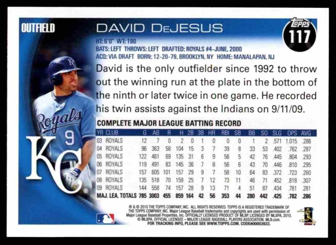 2010 Topps David DeJesus #117 card back image