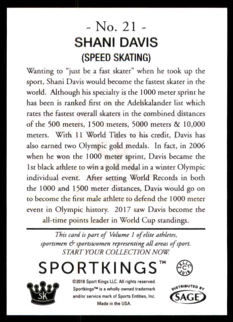 2018 Sportkings Black Back Retail Shani Davis #21 card back image