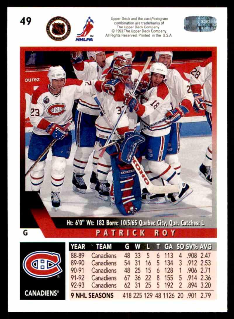 1993-94 Upper Deck Patrick Roy #49 card back image