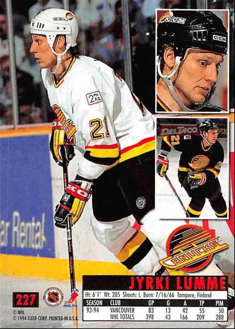 1994-95 Ultra Jyrki Lumme #227 card back image
