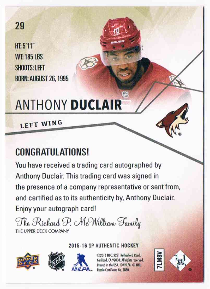 2016-17 Upper Deck SP Authentic Anthony Duclair #29 card back image