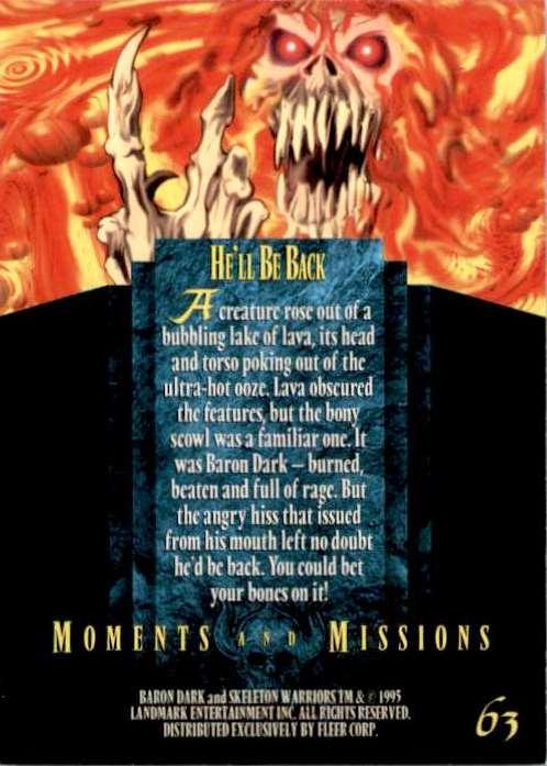 1995 Skeleton Warriors Ultra He'll Be Back #63 card back image