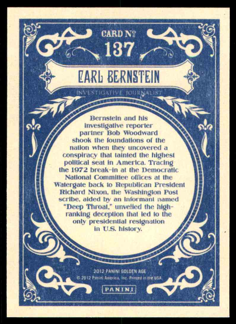 2012 Panini Golden Age Carl Bernstein #137 card back image