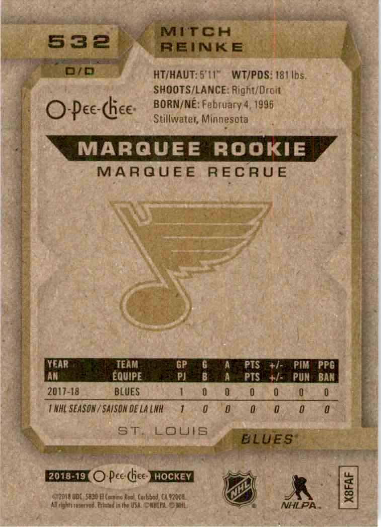 2018-19 O-Pee-Chee marquee Rookie Mitch Reinke #532 card back image